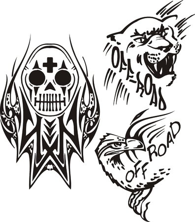 Lioness, eagle and a skull. Off-road symbols. Vector illustration ready for vinylcutting. Vector