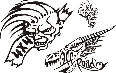 The person with an unusual hairdress and a dragon. Off-road symbols. Vector illustration ready for vinylcutting. Vector