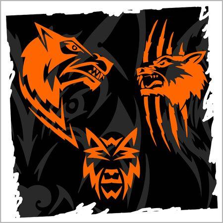 Fierce Wolf.Night Wolves.Illustration.Vinyl Ready. Vector