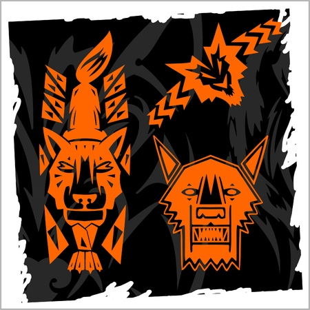 Abstract Wolf.Night Wolves. Vector