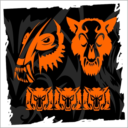 Skull and Wolf.Night Wolves. Vector