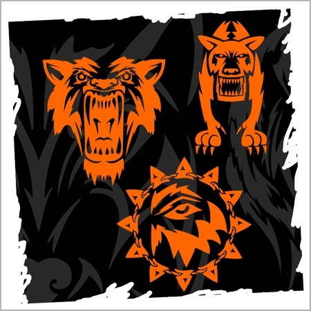 Fierce Wolf.Night Wolves. Stock Vector - 8486681