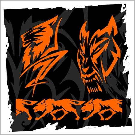 loup garou: Hi�ron et pr�te � Wolves.Illustration.Vinyl Wolf.Night.