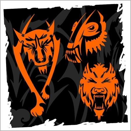 Skull and Wolf.Night Wolves.Illustration.Vinyl Ready. Stock Vector - 8474284
