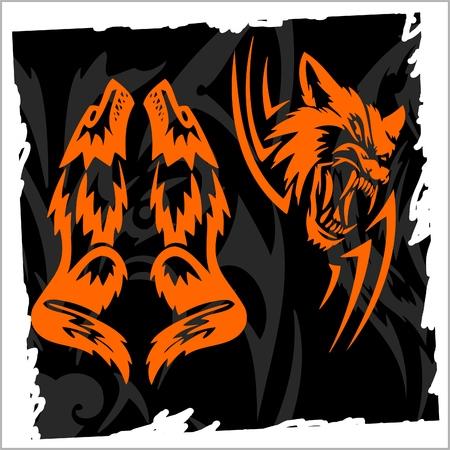 black wolf: Fierce Wolf.Night Wolves.Illustration.Vinyl Ready. Illustration