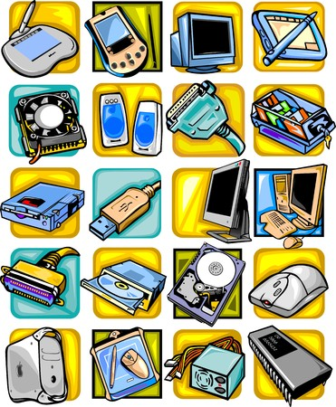 Computer equipment - vector set.Vector illustration ready for vinyl cutting. Stock Vector - 8486817
