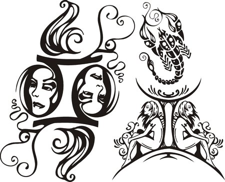Scorpion, the maiden and twins. Fantasy Zodiac.  Vector