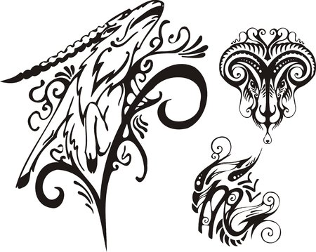 The horned ram and mountain goat. Fantasy Zodiac.  Vector