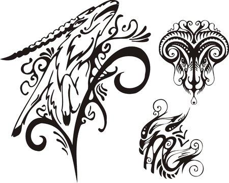 mountain goat: The horned ram and mountain goat. Fantasy Zodiac.  Illustration