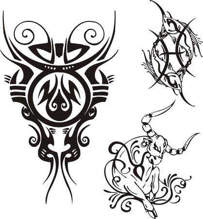 printing logo: Horned bull with an earring in an ear, scales and two fishes. Fantasy Zodiac.