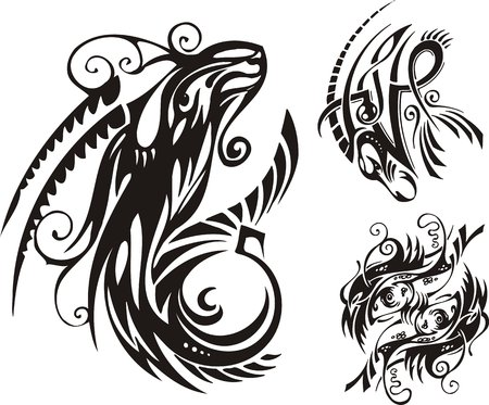 printing logo: Horned animal and two fishes. Fantasy Zodiac.