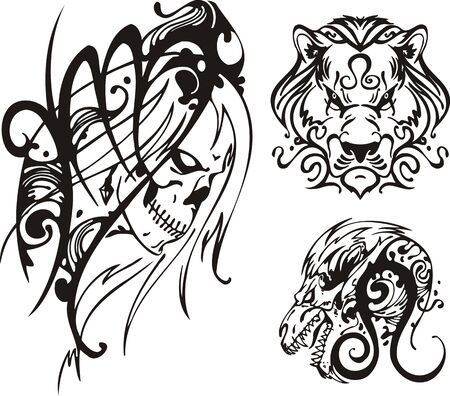 fire skull: Skull and a lion with a long mane. Fantasy Zodiac.