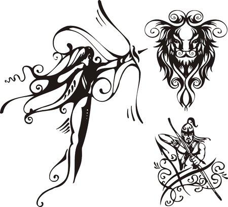 The archer and lion. Fantasy Zodiac. Vector