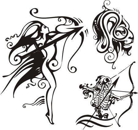 sagittarius: Scheletro-arciere e un leone.  Zodiac di fantasia.