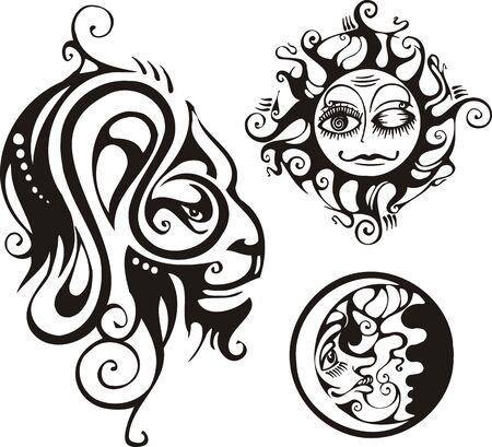 printing logo: Lion, the moon and the sun. Fantasy Zodiac.