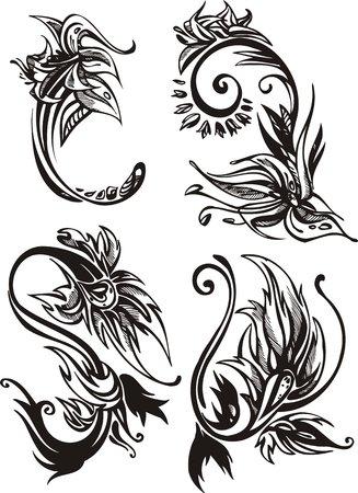 twirled: Tre fiori di un Narciso e uno mughetto. Fiori e foglie.