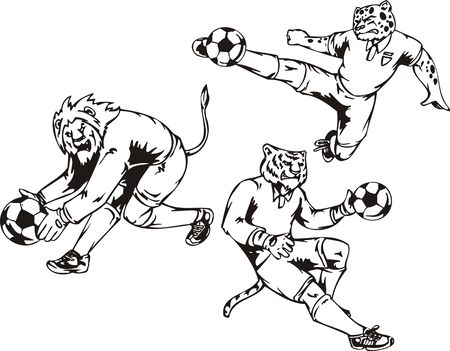 The lion, tiger and leopard play football. Soccer mascot. illustration ready for vinyl cutting. Vector