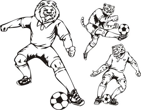The lion, tiger and leopard play with a ball. Soccer mascot.  illustration ready for vinyl cutting. Vector