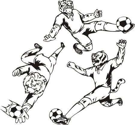 The lion - goalkeeper hunts a ball an arm, the tiger and leopard play a ball. Soccer mascot.  illustration ready for vinyl cutting. Vector