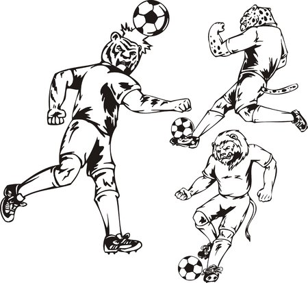 The tiger beats off a ball a head. Soccer mascot. illustration ready for vinyl cutting. Stock Vector - 8570996
