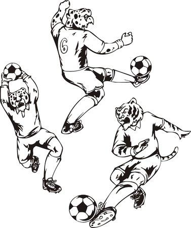 sixth form: El leopardo en el sexto n�mero compagina con una pelota. Mascota de f�tbol.   Ilustraci�n listo para corte de vinilo.