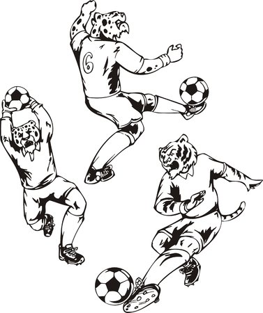 The leopard at sixth number juggles with a ball. Soccer mascot.   illustration ready for vinyl cutting. Vector
