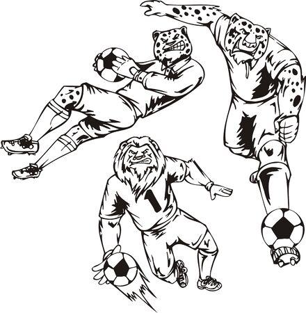 The leopard beats a ball a foot, the lion hunts a ball an arm. Soccer mascot illustration ready for vinyl cutting. Vector