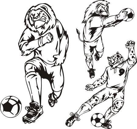Two lions and leopard play a ball. Soccer mascot.  illustration ready for vinyl cutting. Vector