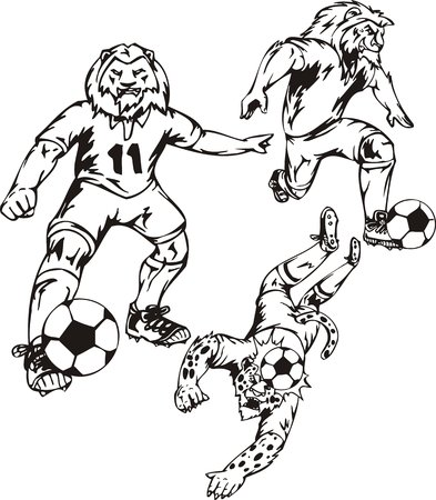 The lion at eleventh number holds a ball. Soccer mascot.  illustration ready for vinyl cutting. Vector