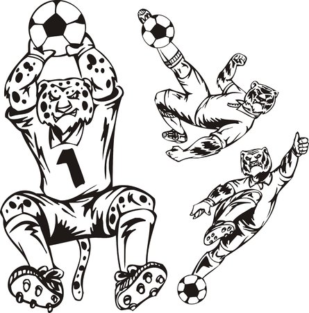 The leopard hunts a ball arms, the tiger beats in falling by a foot. Soccer mascot. illustration ready for vinyl cutting. Vector