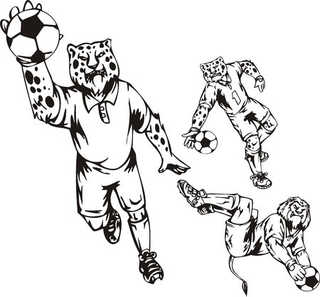 The lion hunts a ball arms, leopards play a ball. Soccer mascot. illustration ready for vinyl cutting. Vector