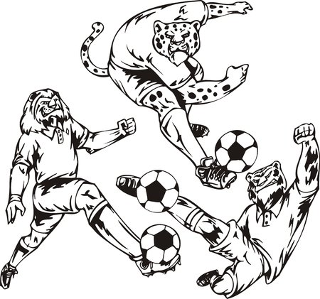 The leopard, tiger and lion play a ball. Soccer mascot.  illustration ready for vinyl cutting. Vector