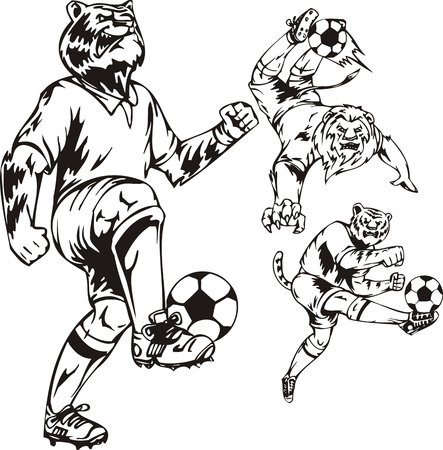 Two tigers and lion play a ball. Soccer mascot. illustration ready for vinyl cutting. Vector