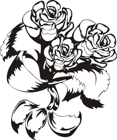 Flowers. illustration ready for vinyl cutting. Vector