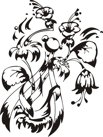 Flowers.Vector illustration ready for vinyl cutting. Vector