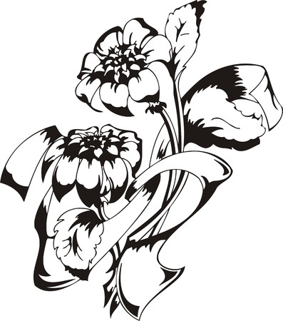 vinyl cutting: Flowers. illustration ready for vinyl cutting.