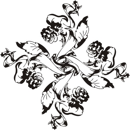 Flowers  illustration ready for vinyl cutting. Vector