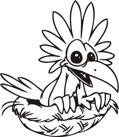 Funny bird in the nest.Funny Birds.Vector Illustration.Vinyl Ready. Vector
