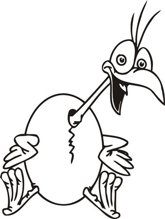 Nestling and egg.Funny Birds.Vector Illustration.Vinyl Ready. Vector