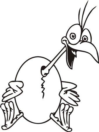gobble: Nestling and egg.Funny Birds.Vector Illustration.Vinyl Ready.