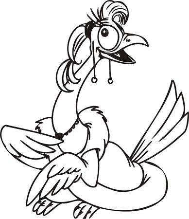 Cool bird.Funny Birds.Vector Illustration.Vinyl Ready. Vector