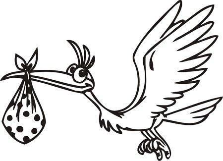 Stork with a baby.Funny Birds.Vector Illustration.Vinyl Ready. Vector