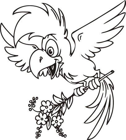 Parrot with flowers.Funny Birds.Vector Illustration.Vinyl Ready. Vector