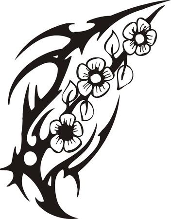 Belles fleurs. Illustration prête pour la découpe de vinyle.