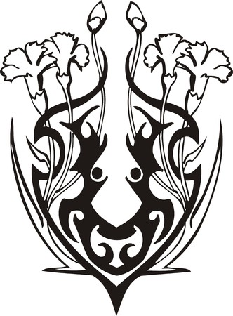 Beautiful Flowers. illustration ready for vinyl cutting. Vector