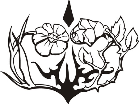 Beautiful Flowers illustration ready for vinyl cutting. Vector