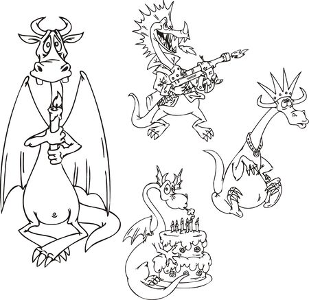 Dragon with a pie, a dragon with the automatic machine, a dragon with a candle, a dragon in a crown. Funny dragons.  illustration ready for vinyl cutting. Stock Vector - 8570762