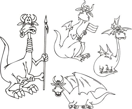 Dragon with a spear, a dragon with a flag and a smiling dragon. Funny dragons. Vector illustration ready for vinyl cutting. Stock Vector - 8570833
