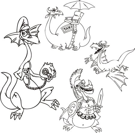 printing logo: Dragon with phone, a dragon with we throw, a dragon-taxi. Funny dragons. illustration ready for vinyl cutting.