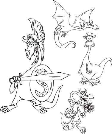 wizardry: Dragon with a sword, a dragon with flowers, a volant dragon. Funny dragons.   illustration ready for vinyl cutting.